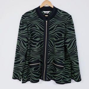 Misook Green Zebra Print Jacket